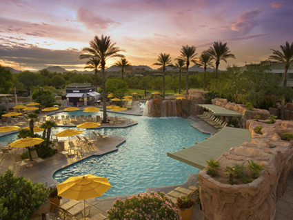 View of the pool area at Marriott's Canyon Villas in Phoenix, Arizona.