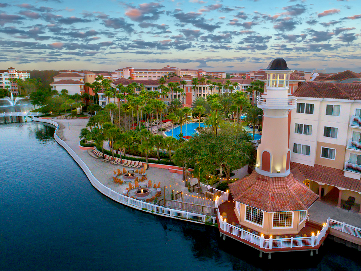 Beautiful sunrise at Marriott Vacation Club's Grande Vista resort in Orlando, Florida.
