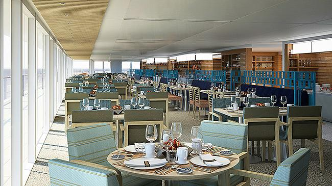 Deck view with tables and bicycles on MSC's 7-day Caribbean cruise