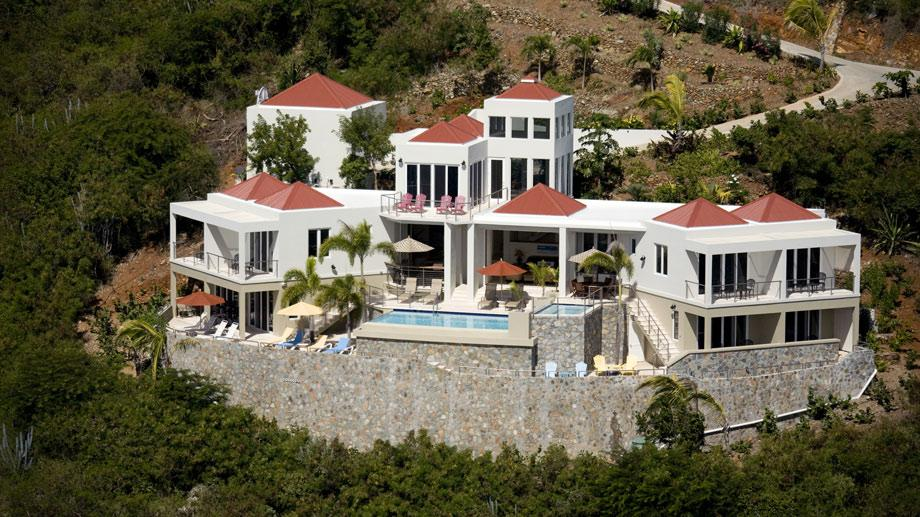 Aerial view of the VI Friendship Villa on the caribbean island of St. John, USVI.