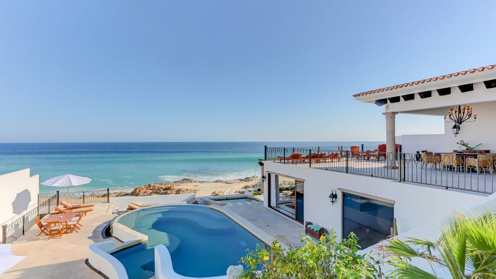 View of the pool and beach by the Casa La Laguna in Los Cabos, Baja California Sur, Mexico.